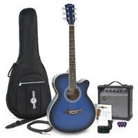 Single Cutaway Acoustic Guitar + Amp Blue - Musicandgoodshit.com